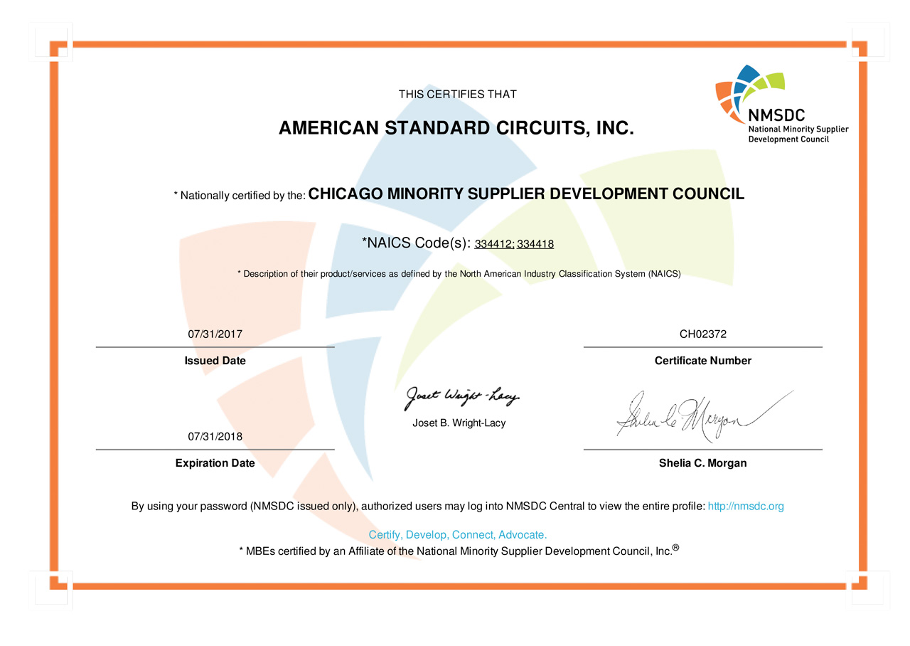 American Standard Circuits Our Quality Printed Circuit Board Supply Domestic And Offshore Minority Supplier